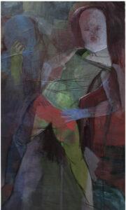 Die Maske / 160x95 cm / Mischtechnik, Papier auf Leinwand